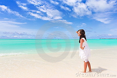 Girl on tropical beach