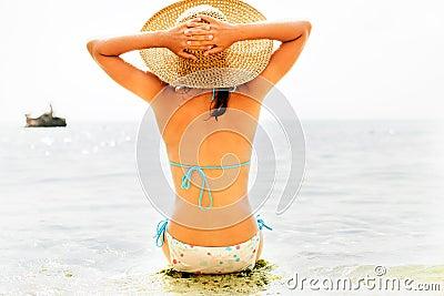 Girl on a tropical beach