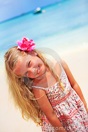 Girl at the tropical caribbean beach