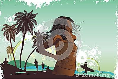 Girl,tropical island, palm tre