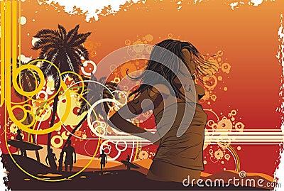 Girl,tropical island, palm trees