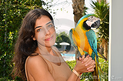 Girl and Tropical Parrot