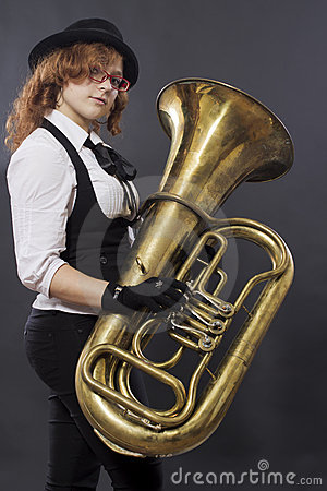 The girl with a tuba
