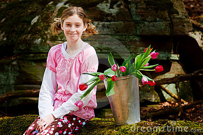 Girl with of tulips