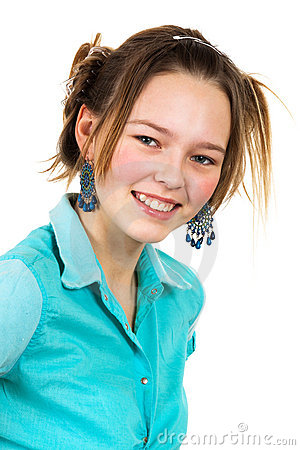 Girl in the turquoise shirt