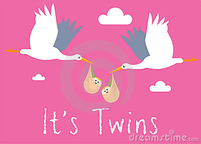 Girl Twins Birth Illustration