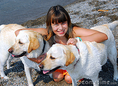 Girl two dogs