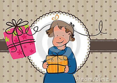 Girl and two gifts