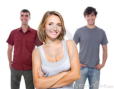 The girl and two young men