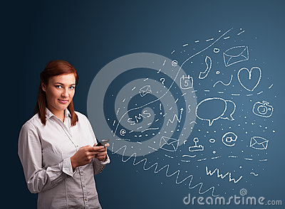Girl typing on smartphone with various modern technology icons