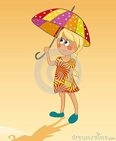 Girl and umbrella