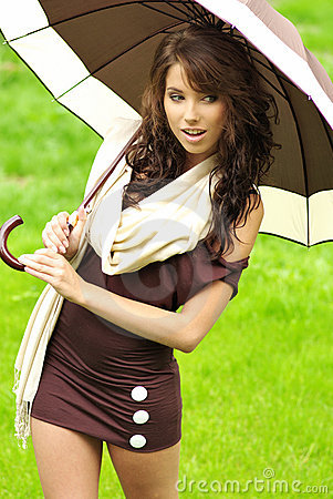 Girl with umbrella oudoors