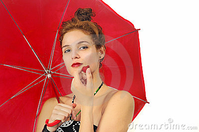 Girl with umbrella and strawberry