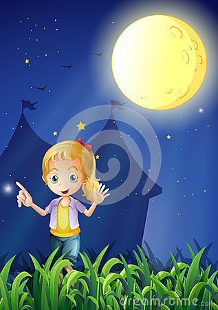 A girl under the bright fullmoon