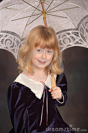Girl under lace umbrella