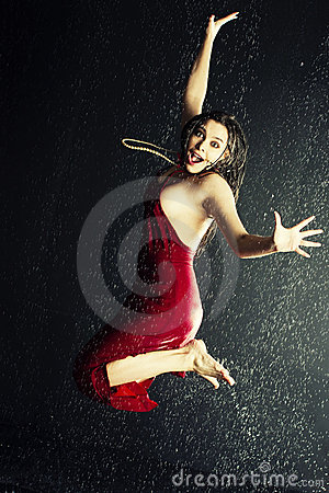 Girl under a rain