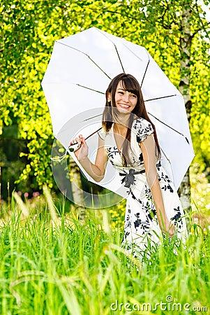 Free Girl Under Sun-protection Umbrella Royalty Free Stock Photo - 6052285