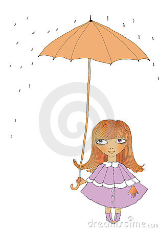 The girl under an umbrella