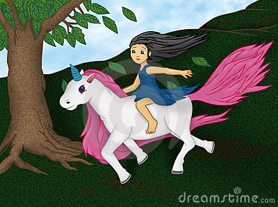 Girl On Unicorn Stock ...