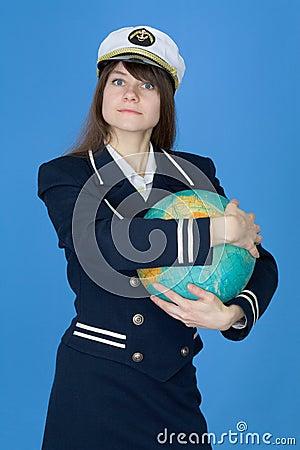Girl in uniform embrace globe