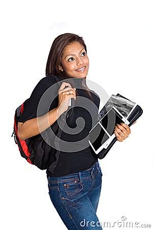 Girl university student , isolated