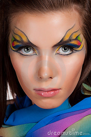 Girl and unusual make-up.