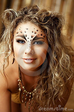 girl with an unusual make up as a leopard royalty free. Black Bedroom Furniture Sets. Home Design Ideas