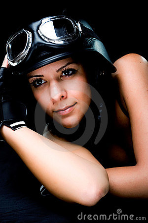 Girl with US Army-style motorcycle helmet