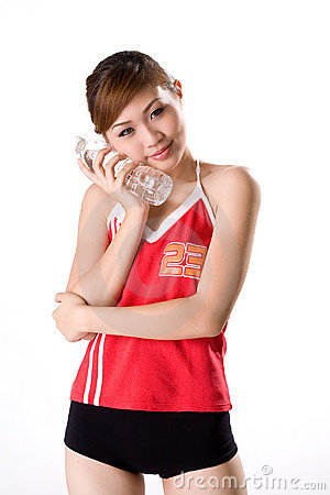 Girl use water bottle cool aid