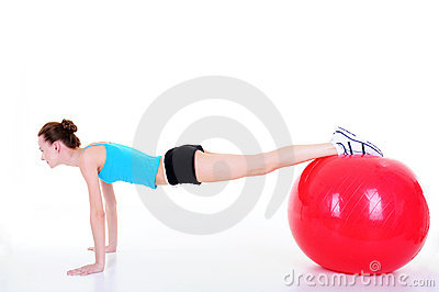Girl using fitball