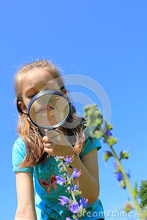 Girl using magnifying glass on the meadow