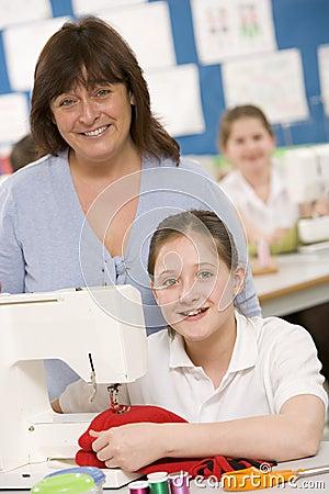 Girl using a sewing machine