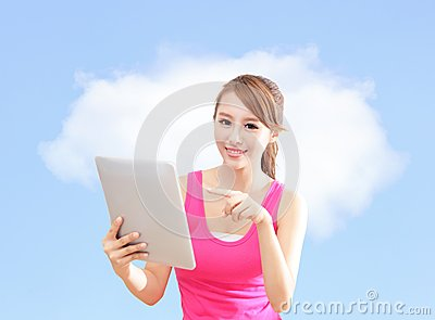 Girl using tablet pc and finger point cloud