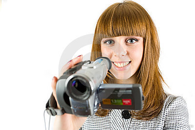 Girl using video camera