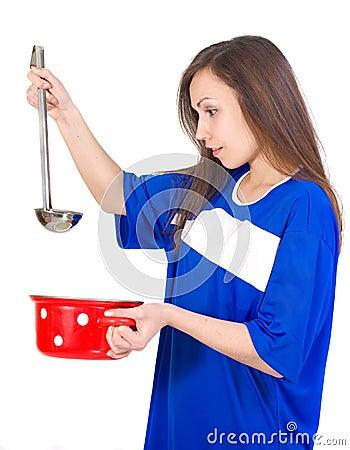Girl with utensil