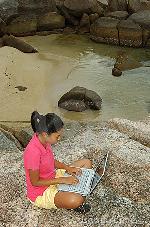 Girl on Vacation Using Laptop Computer Outside