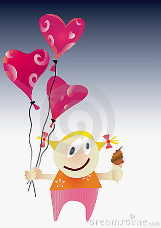 Girl with Valentine day balloons.