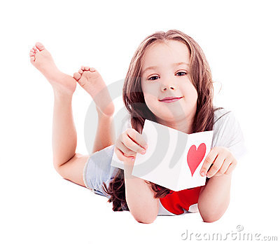 Girl with a Valentine s card