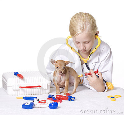 Girl Veterinarian Giving Puppy a Shot in Behind