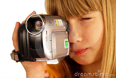 Girl and video camera
