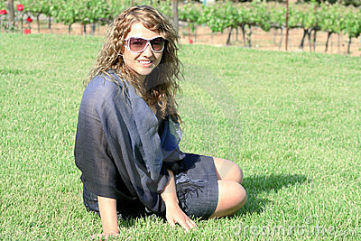 Girl at vineyard