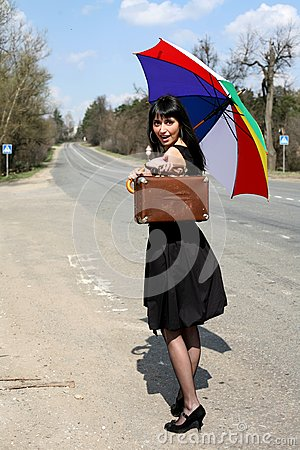 Girl with vintage suitcase