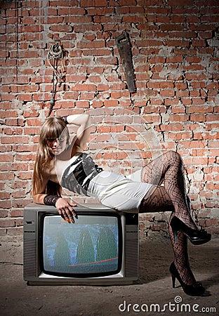 Girl on vintage TV receiver