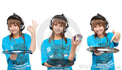 Girl with vinyl disk and CD-disk