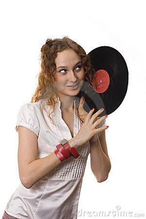 Girl with a vinyl in the hands