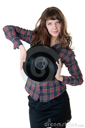 Girl with a vinyl record