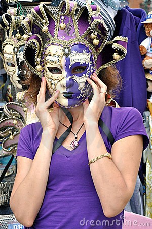 A girl in violet mask