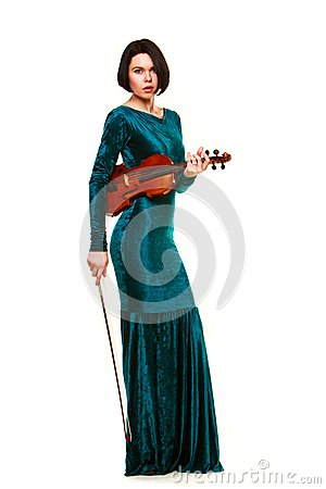 Girl with violin on white