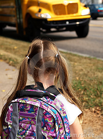 Free Girl Waiting For School Bus Stock Images - 6758704