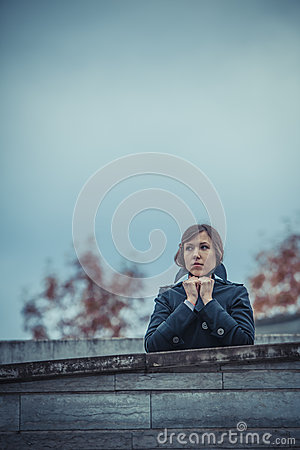 Girl waiting for someone
